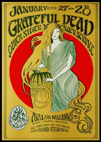THE GRATEFUL DEAD - Avalon Ballroom live 1966 canvas print - self adhesive poster - photo print